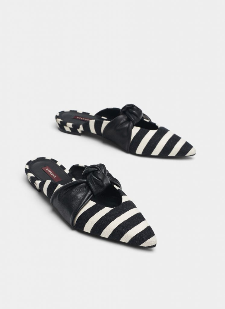 Stripped mules with knot detail, €79.95 at uterque.com