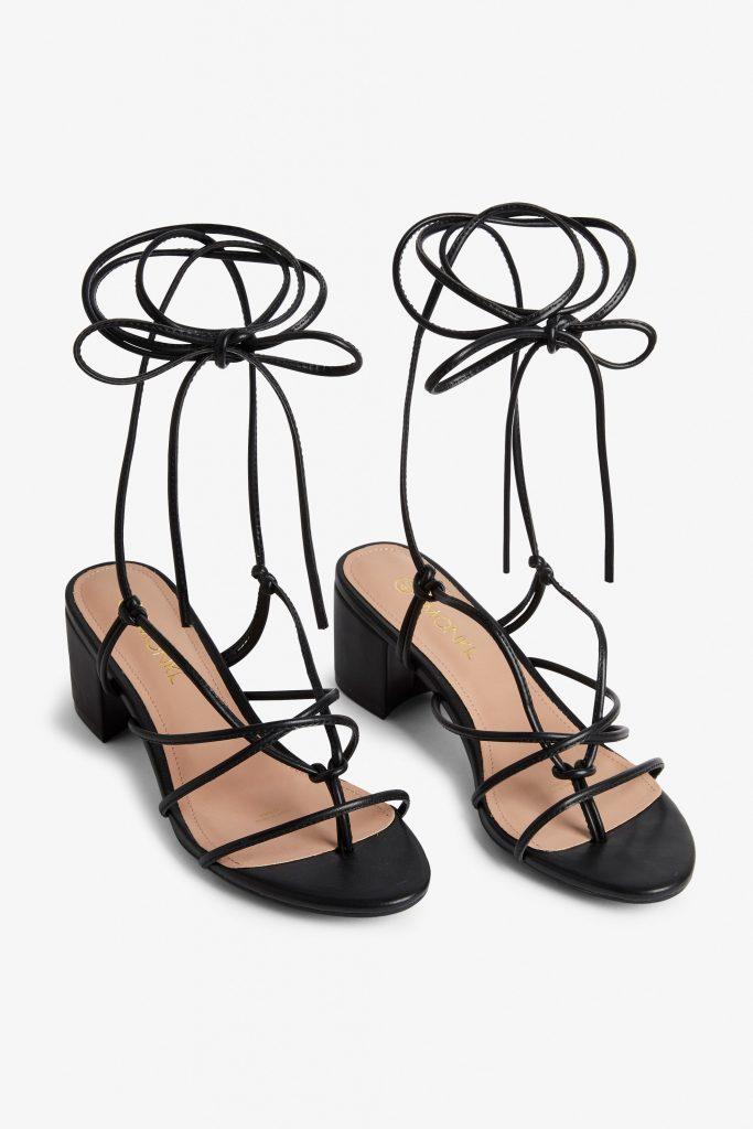 Heeled ankle-wrap sandal, €25 at monki.com