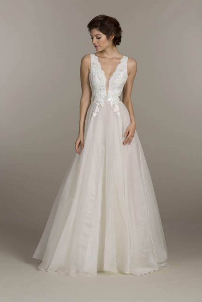 Ivory organza bridal ball gown by Tara Keely, available at alicemay.ie