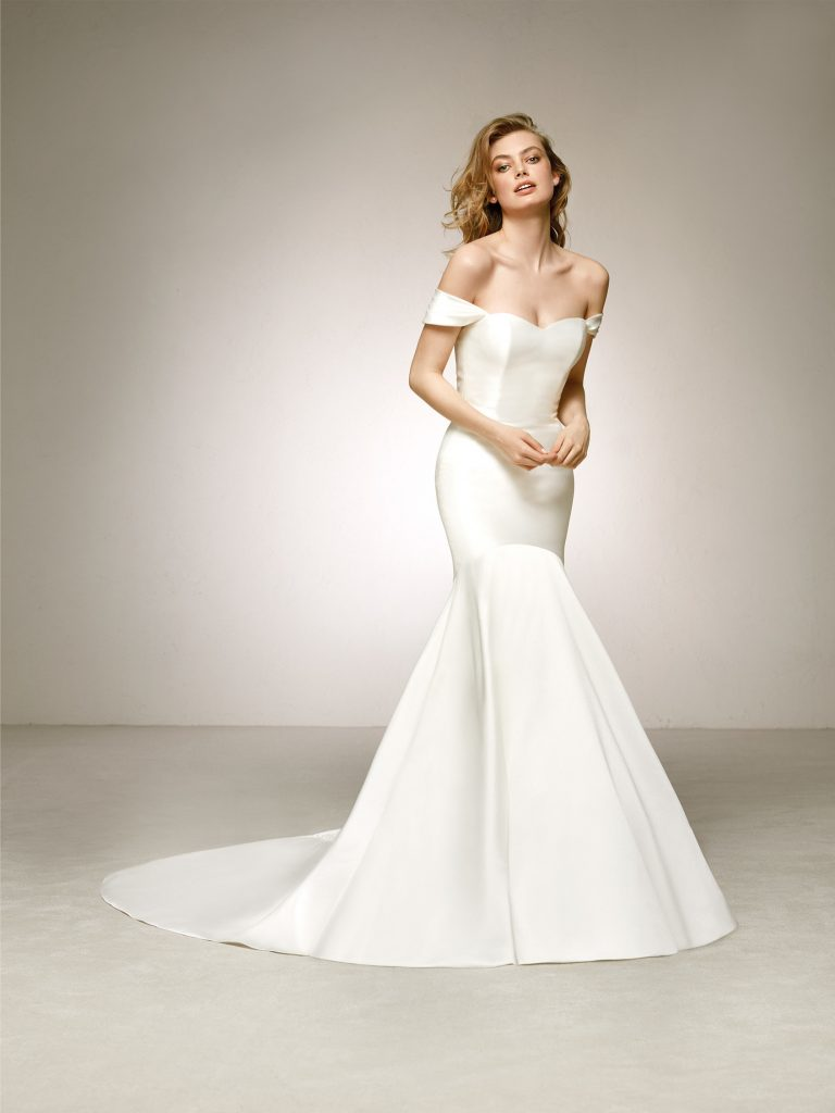 Sweetheart neckline gown by Pronovias Delco, €1,200 at thewhiteroom.ie