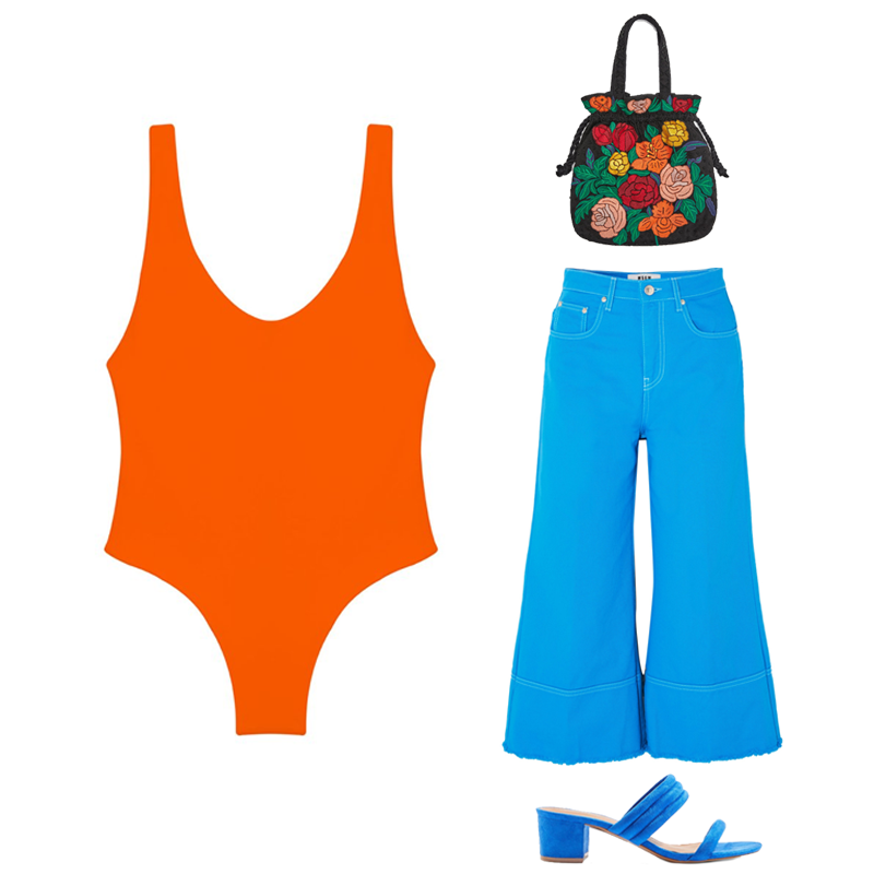 Contour one piece, €179.87 at jadeswim.com,dixie tubular block mules, €40 at topshop.com, cropped high-rise wide-leg jeans by MSGM, €117 at net-a-porter.com, bucket bag with floral embroidery, €29.99 at zara.com