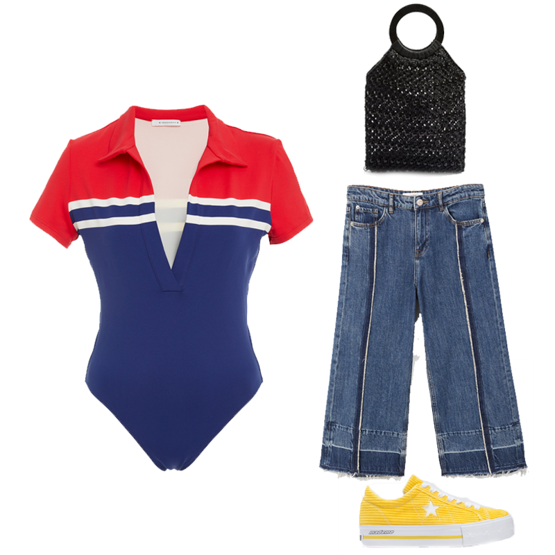 The Maya Collared one-piece swimsuit by Solid and Striped, €204 at modaoperandi.com, culotte relaxed jeans, €39.99 at mango.com, Converse One Star X MadeMe Corduroy Platform Sneaker, €94.22 at urbanoutfitters.com, mini Mykonos beaded tote bag, €40 at topshop.com