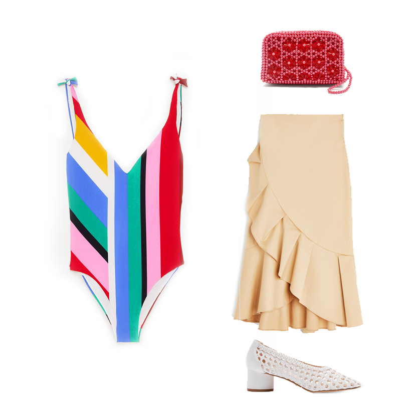 Striped swimsuit, €19.99 at zara.com, ruffled skirt, €69.95 at uterque.com,Domenica faux-pearl embellished clutch by Shrimps, €199 at matchesfashion.com, woven shoes, €68 at topshop.com