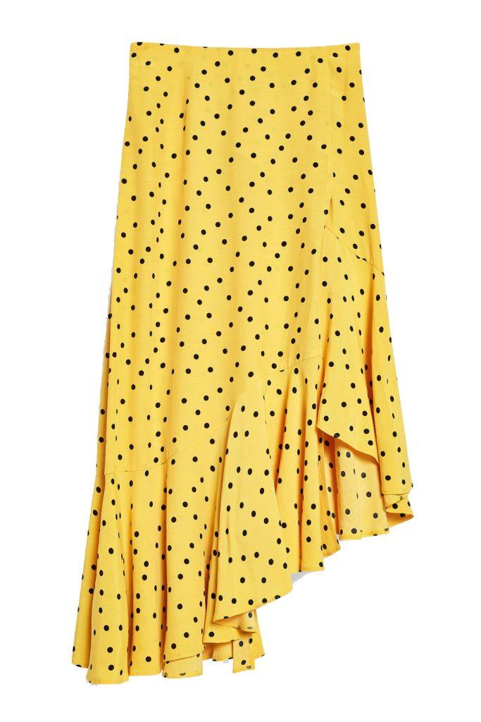 Polka dot asymmetric skirt, €52 at topshop.com
