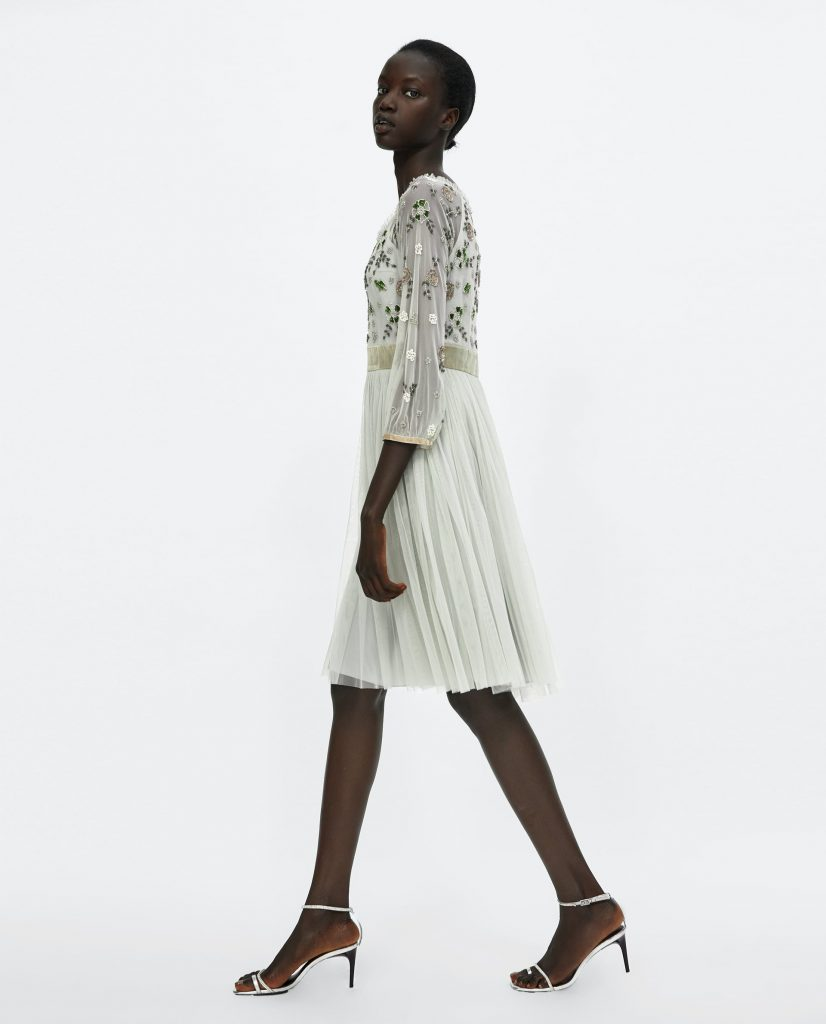 Embroidered tulle dress, €69.95 at zara.com