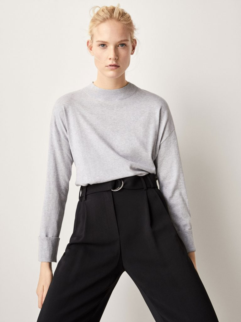 Silk/cotton sweater with turn-up cuffs, €19.95 at massimodutti.com