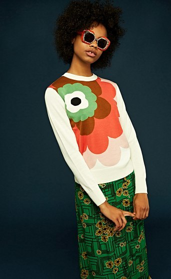 Orla Kiely floral sweater in ivory, €260 at anastasiashop.com