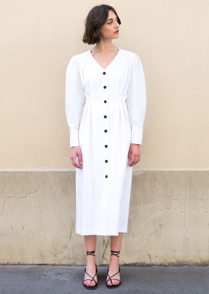White button-downmidi dress, €118 at thefrankieshop.com