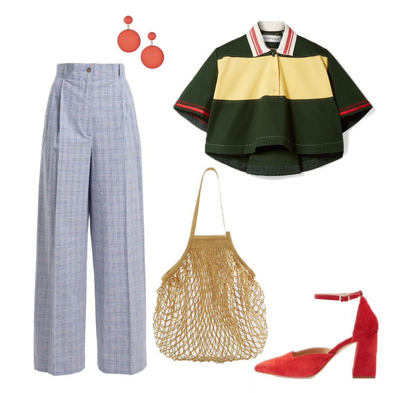 Cropped colour-block cotton-piqué top by Carven, €195 at net-a-porter.com, checked high-rise cotton-blend trouser by Stella McCartney, €324 at matchesfashion.com, Gloria two-partcourt shoes, €76, red circle drop earrings, €13 both at topshop.com, net bag, €9.99 at mango.com