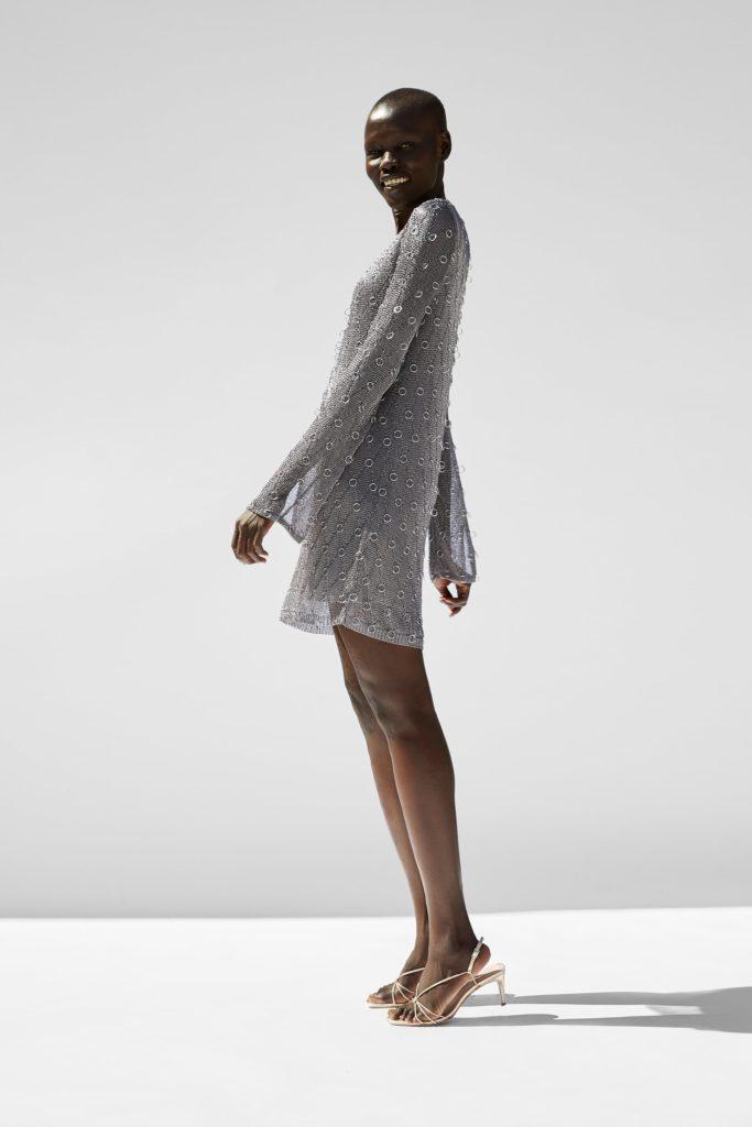 Metallic thread dress with rings, €59.95 at Zara