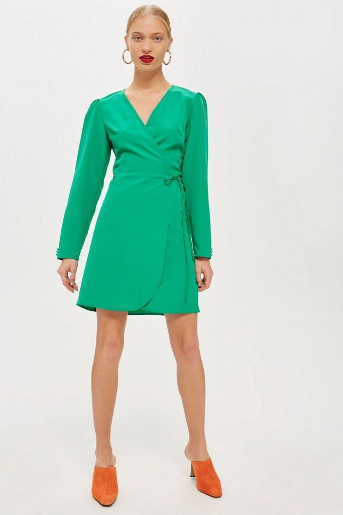 Crepe wrap mini dress, €40 at Topshop
