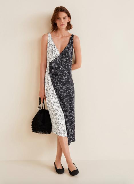 Wrap contrasted bodice dress, €35 at Mango