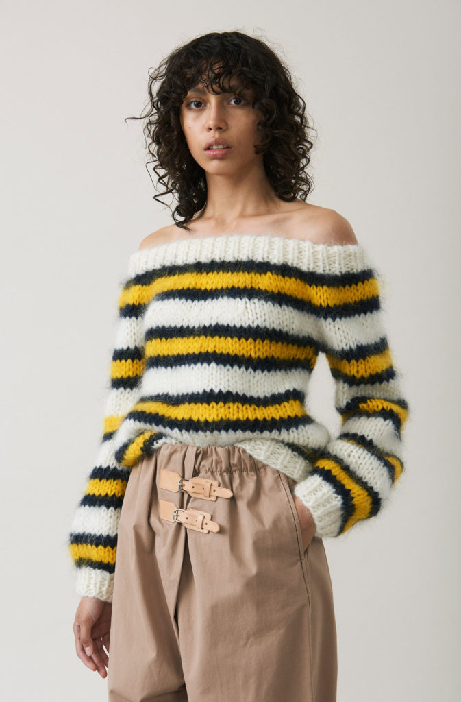 The Julliard mohair off shoulder pullover, €221 at ganni.com