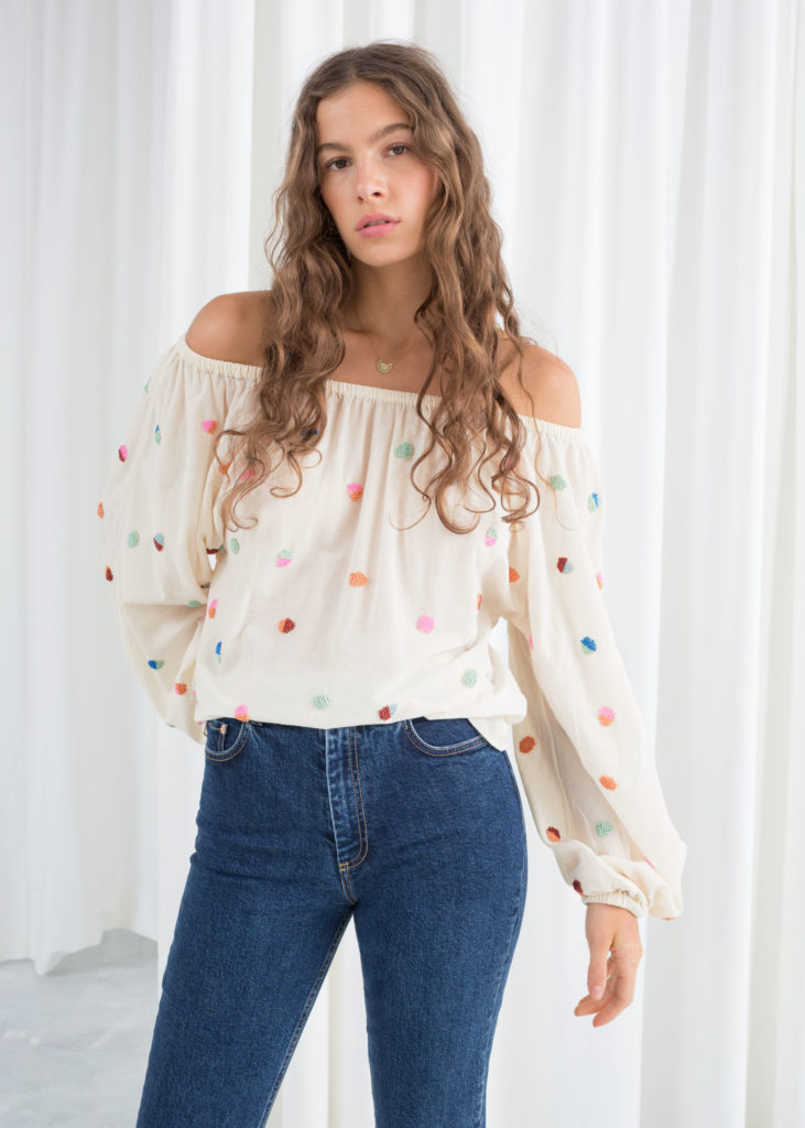 Billowy embroidered bardotblouse, €79 at stories.com