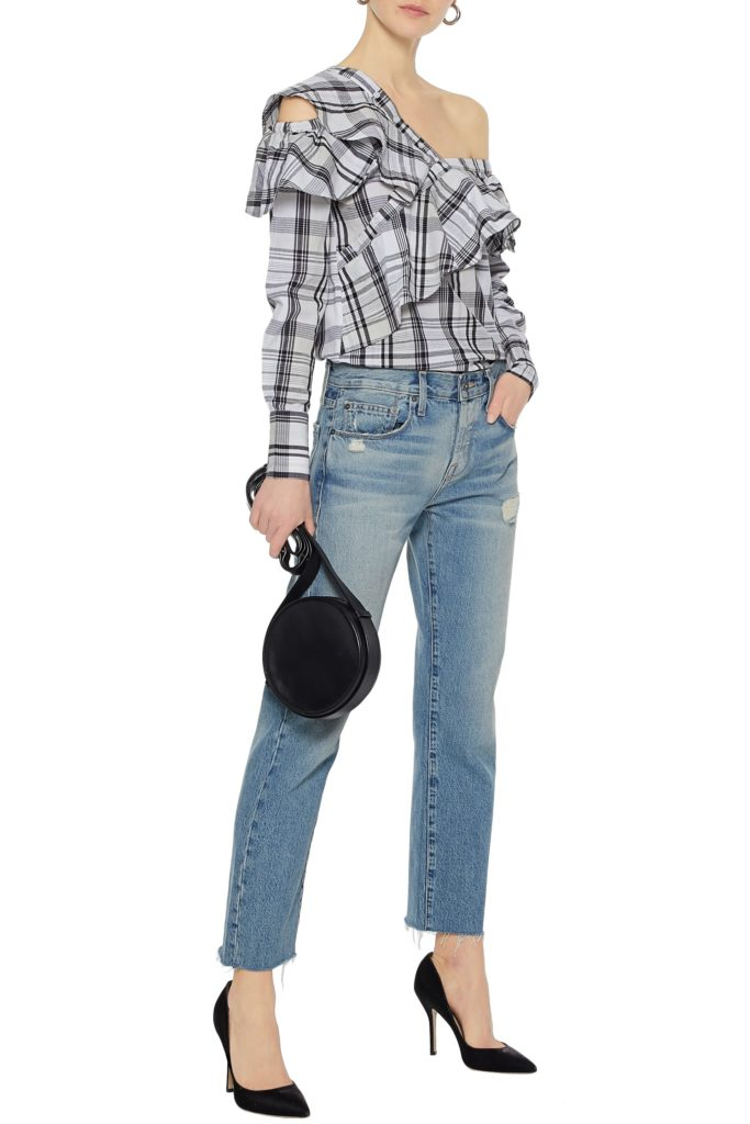 One-shoulder ruffled checked cotton-poplin blouse by WalterBaker, €89 at theoutnet.com