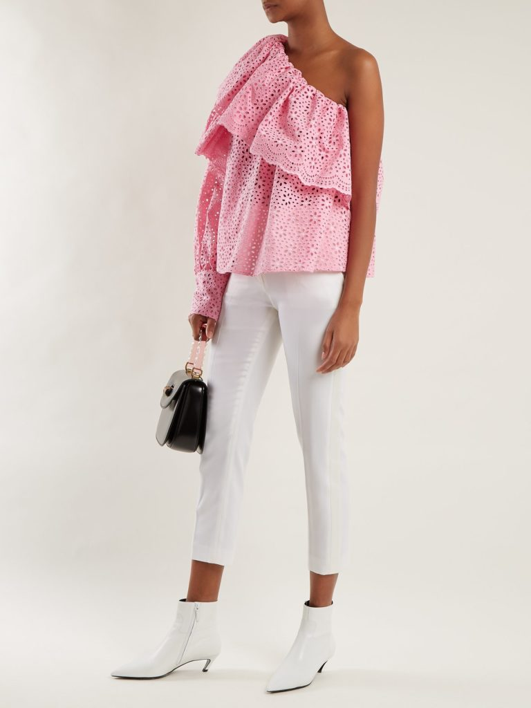 One-shoulder broderie-anglaise cotton top by MSGM, €343 at matchesfashion.com