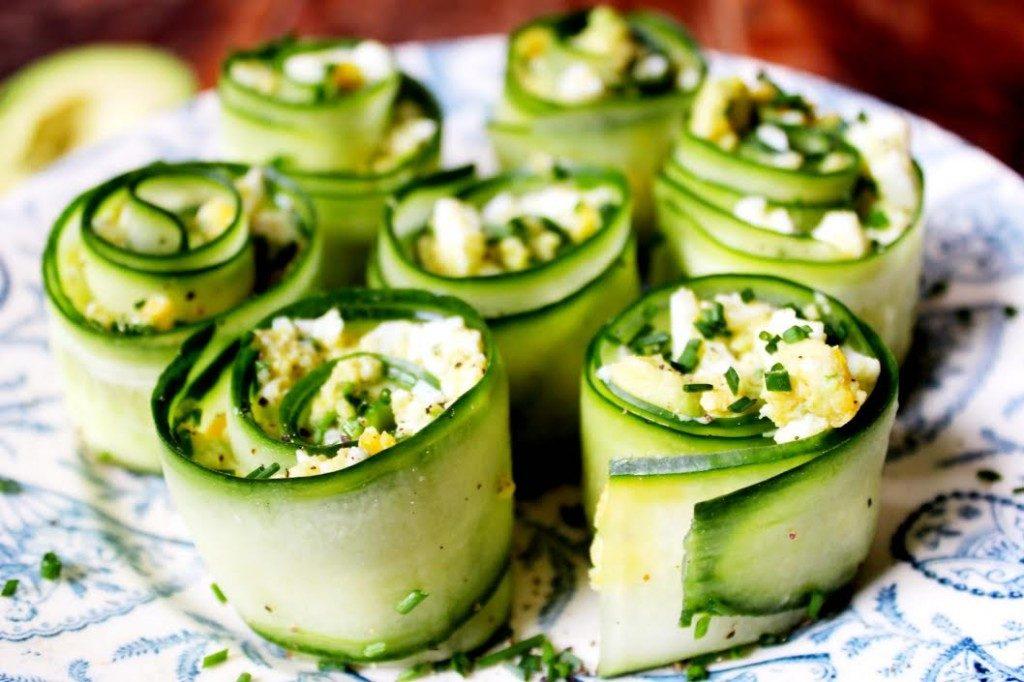 Avocado egg and cucumber rolls