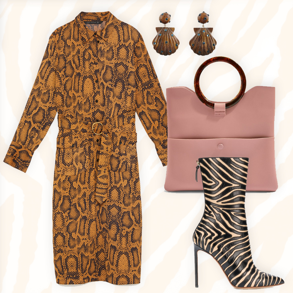 Snakeskin print tunic, €59.95 at zara.com, animal print ankle boots by Francesco Russo, €1,194 at farfetch.com, cookie clutch bag, €29 at topshop.com, Ariel drop earrings, €131.29 at rebeccaderavenel.com