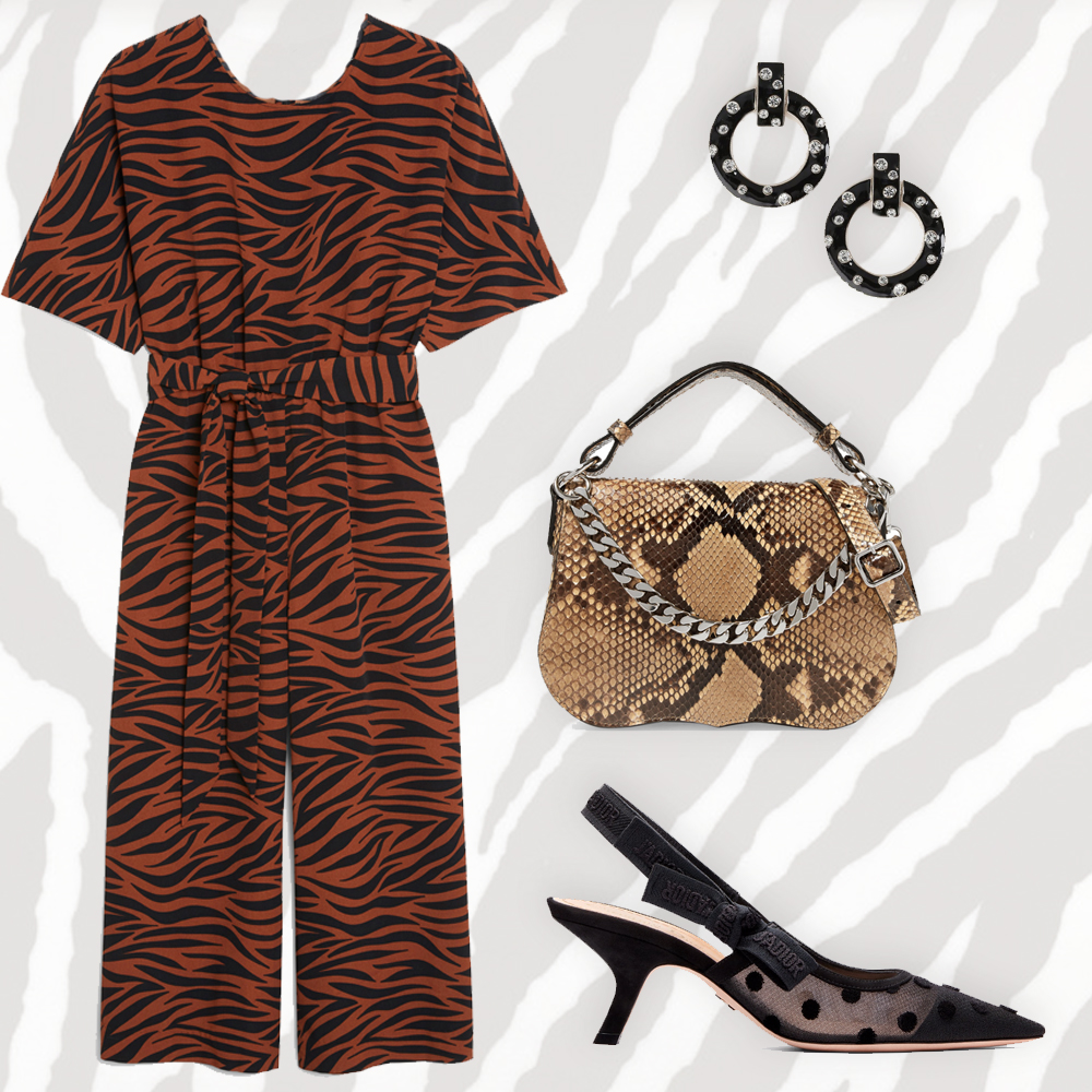 Belted jumpsuit, €35 at monki.com, J'Adior high-heeled shoe in nude, available on request from selected boutiques, stone door knockers earrings, €13 at topshop.com, chain-trimmed python shoulder bag by Calvin Klein, €840 at net-a-porter.com