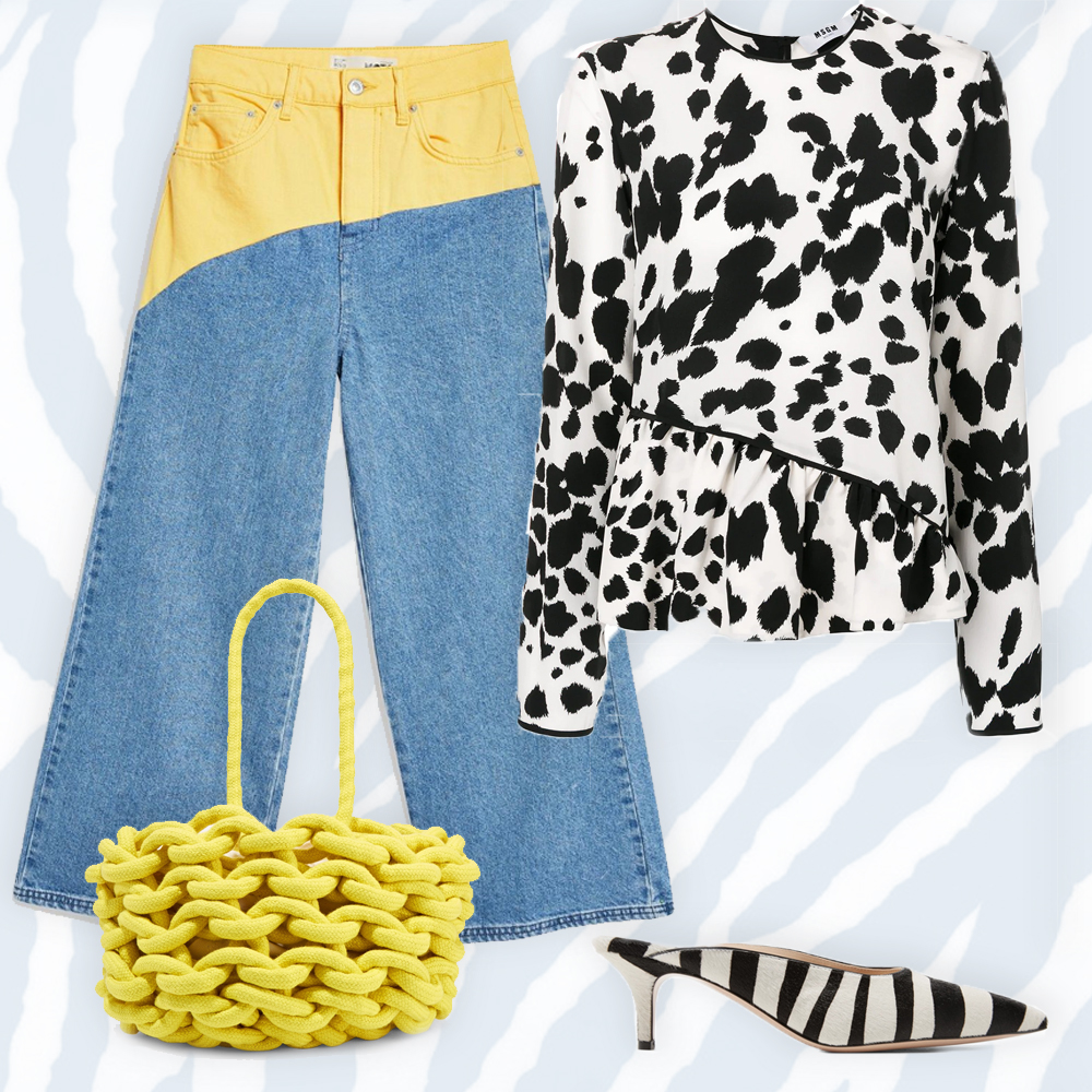 Dalmatian gathered top by MSGM, €343 at farfetch.com, MOTO colour block cropped wide leg jeans, €68 at topshop.com,  55 zebra-print calf hair mules by Gianvito Rossi, €372 at net-a-porter.com, woven cotton bucket bag by Alienina, €185 at net-a-porter.com