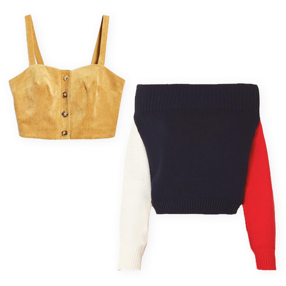 Corduroy button top, €32 at topshop.com, off-the-shoulder colour-block cotton sweater by Monse, €464 at net-a-porter.com