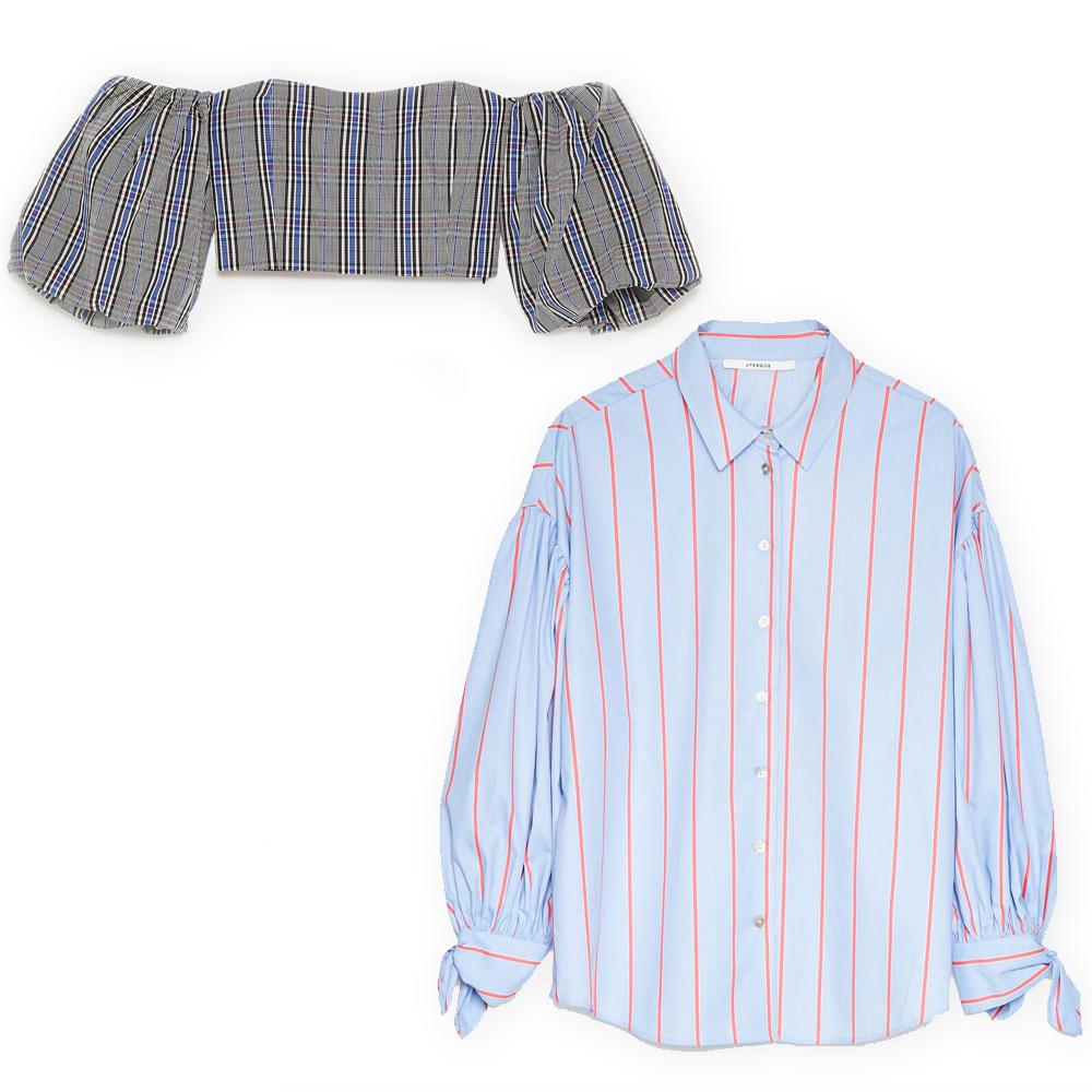 Checked crop top, €9.99 at zara.com, pinstripe shirt, €89 at uterque.com