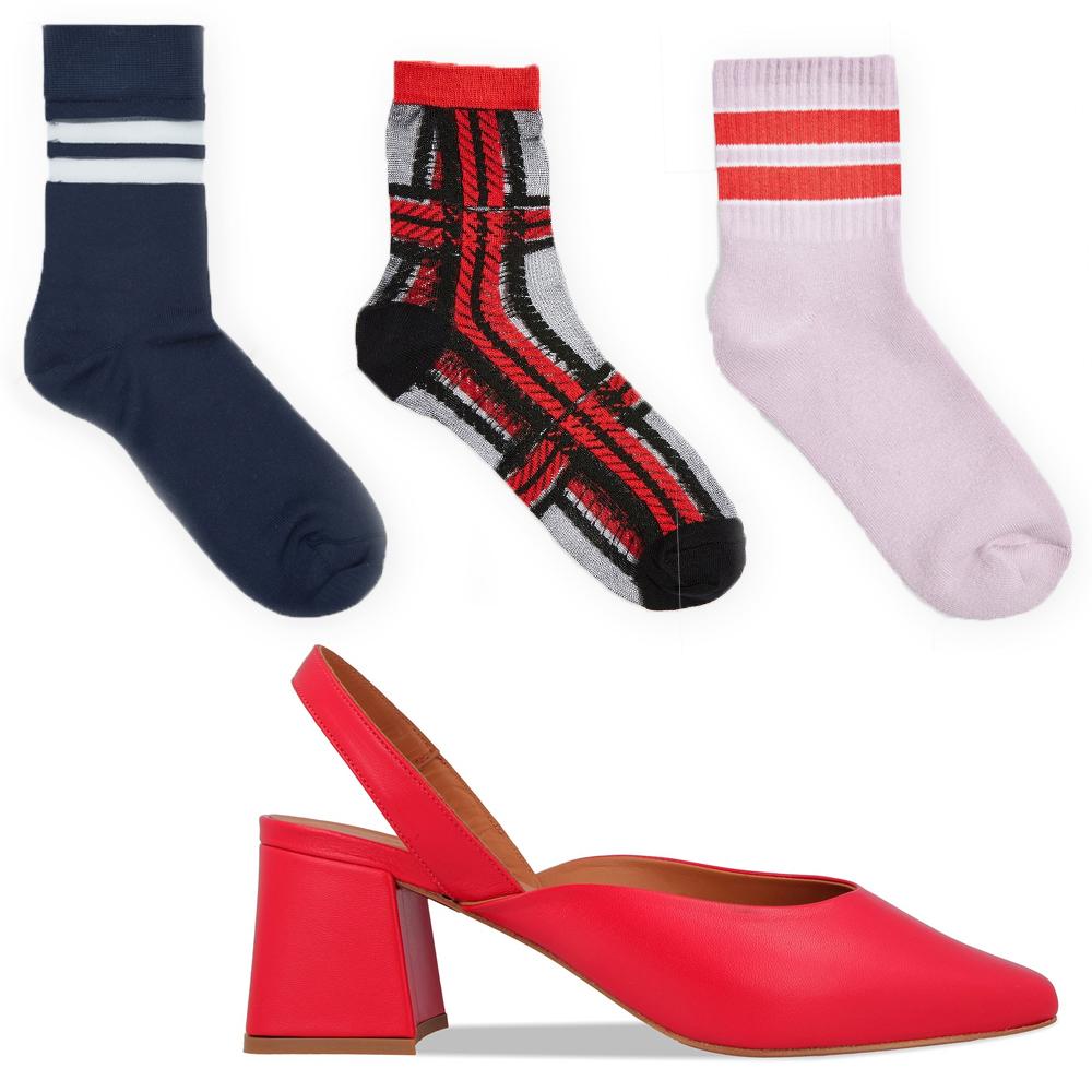 Lisa red leather slingback, €350 at byfarshoes.com, sheer striped navy sock, €7 at cosstores.com, sheer tartan socks, €5 at topshop.comred stripe sports socks, €5 at topshop.com