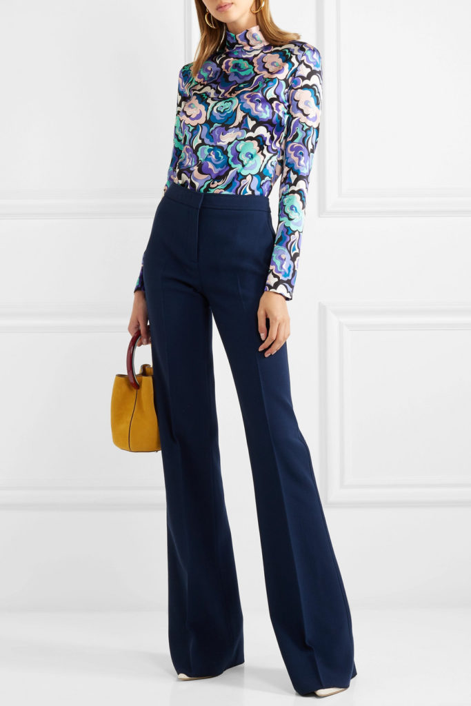 Printed silk-blend satin blouse by Emilio Pucci, €490 at net-a-porter.com