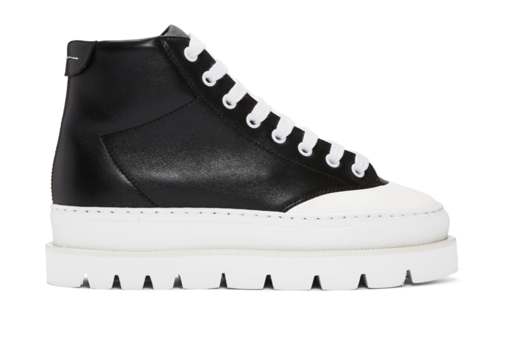 Black leather hiking boots by MM6 Maison Martin Margiela, €490 at ssense.com