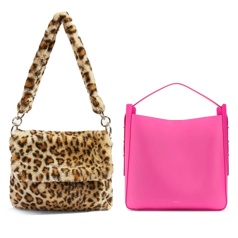 L-r: Leopard print teddy faux fur shoulder bag, €40 at topshop.com,Lotta tote by Wandler, €675 at farfetch.com