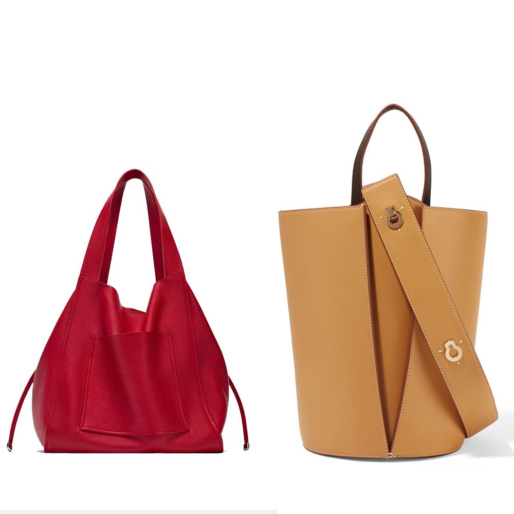 L-r: Leather tote, €69.95 at zara.com,Lorna mini leather tote, €485 at danselente.com