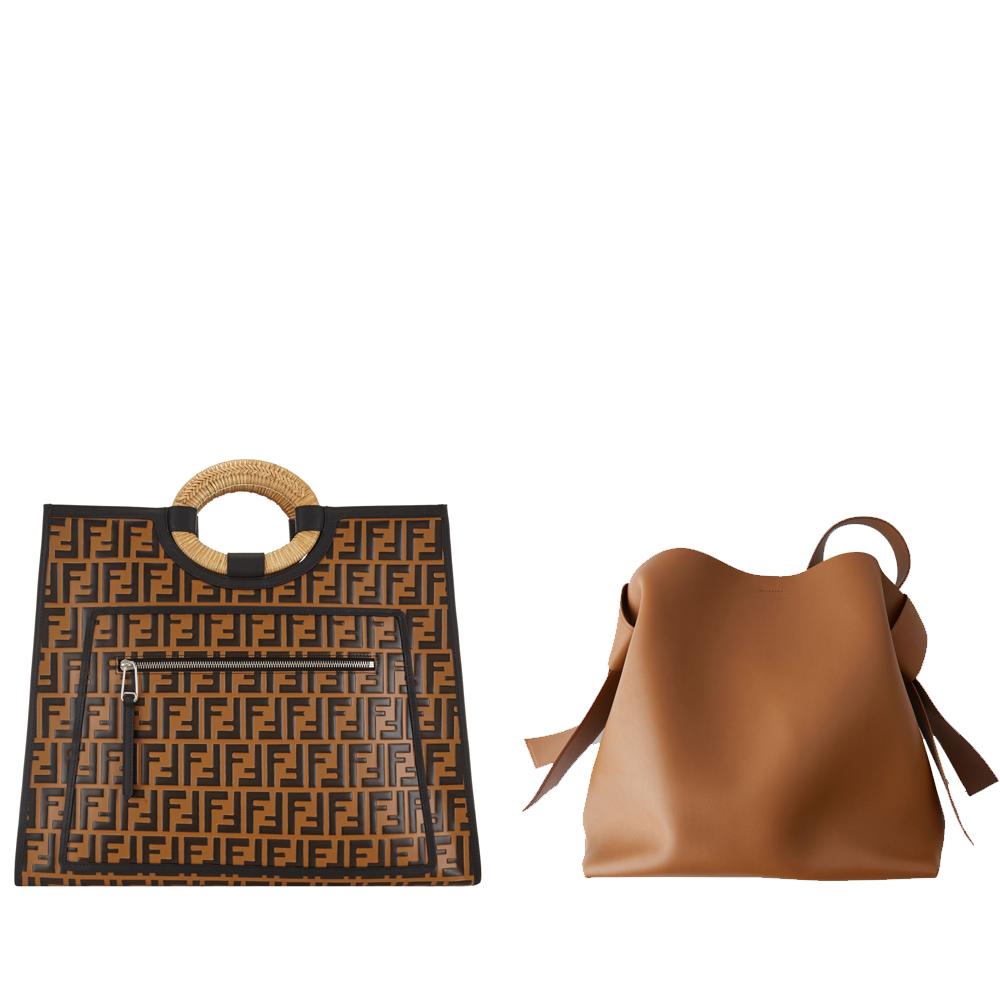 L-r:Fendi logo leather shopping bag, €1,200 at brownthomas.com, large leather handbag brown, €900 at acnestudios.com