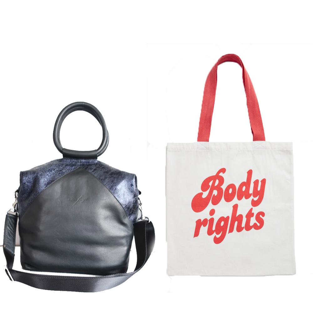 L-r: Natalie bag, €300 at anyafaye.com,Monki x RFSU tote, €10 at monki.com