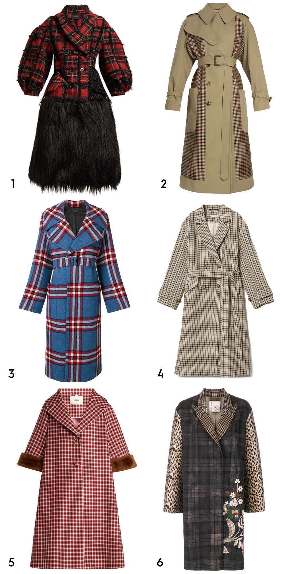 1Checked tweed coat by Simone Rocha, €2,688 at matchesfashion.com,2checked-back belted trench coat by Alexander McQueen, €2,446 at matchesfashion.com,3military check coat by Joseph, €1,195 at farfetch.com,4double-breasted coat, €99 at hm.com5shearling-trimmed checked wool coat by Fendi, €3,900 at matchesfashion.com,6floral embroidery checked coat by Antonio Marras, €1,500 at farfetch.com