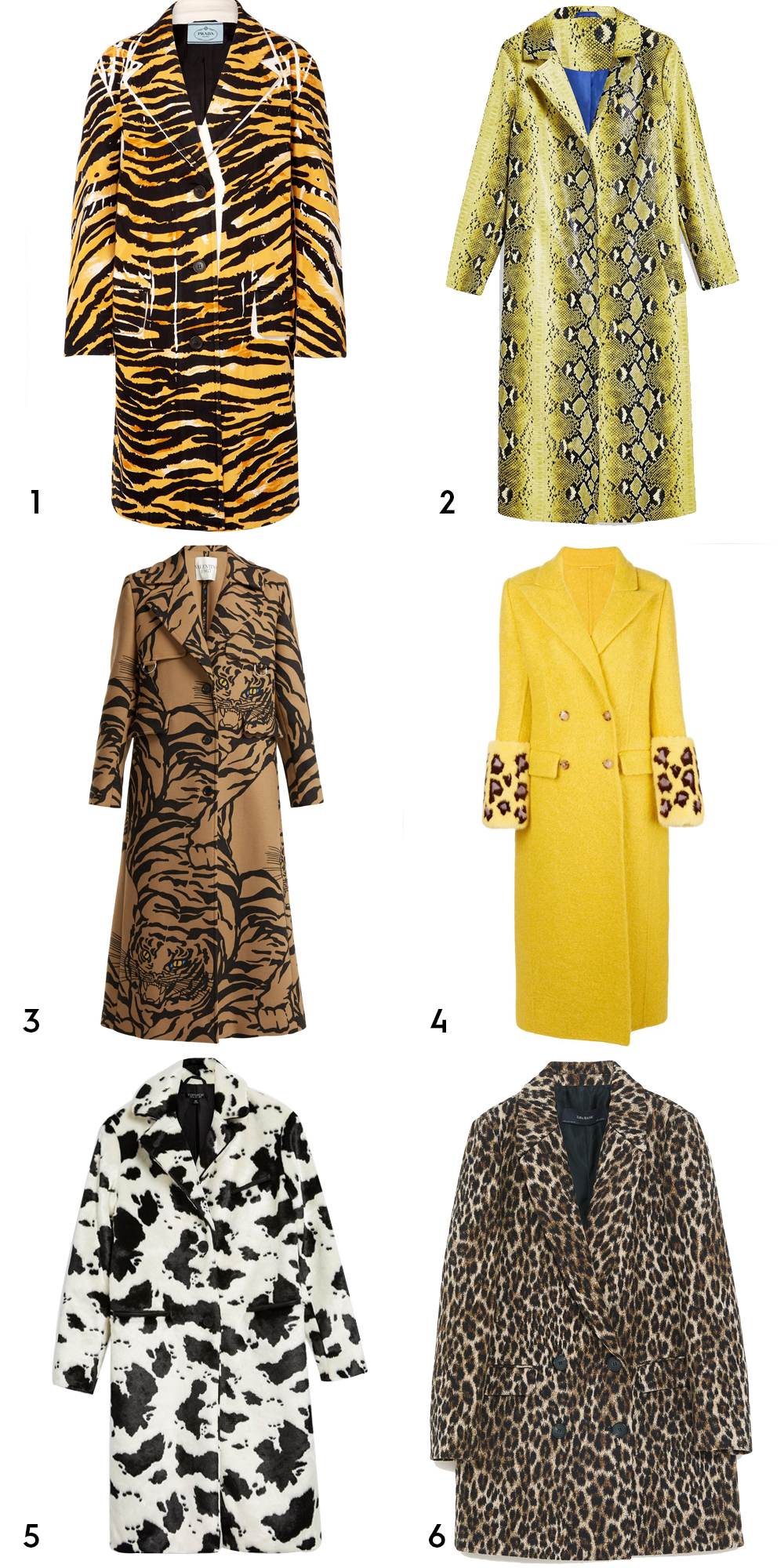 1Printed cotton blend coat by Prada, €1,850 at net-a-porter.com, 2 snake-printed coat, €110 at topshop.com, 3tiger-print wool-blend trench coat by Valentino, €4,980 at matchesfashion.com, 4double-breasted coat by Ermanno Scervino, €5,396 at farfetch.com, 5 cow print coat, €130 at topshop.com, 6 leopard print jacquard coat, €9.95 at zara.com