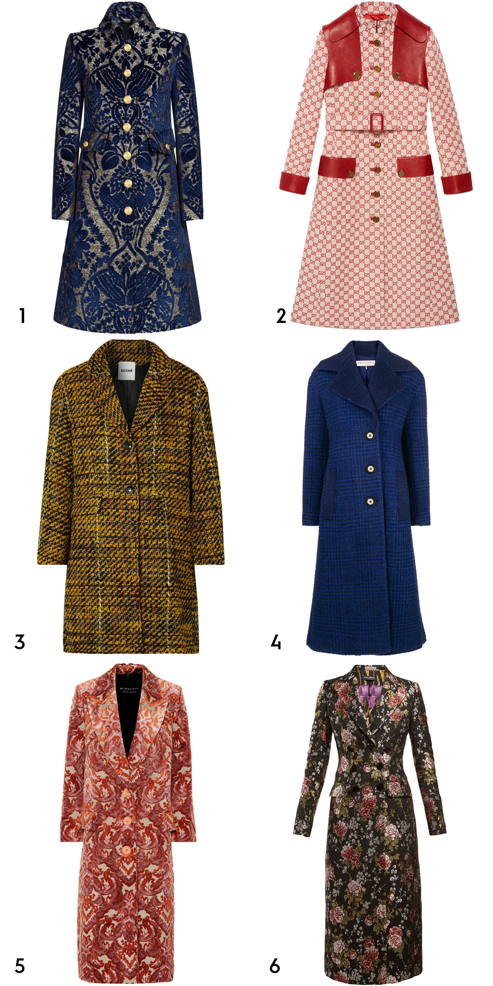 1 Jacquard velvet coat, €2,950 at dolceandgabanna.com, 2 GG canvas trench coat, €4,800 at gucci.com, 3 Taylor oversized tweed coat by Koché, €1,196 at net-a-porter.com, 4embroidered single-breasted coat by Emilio Pucci, €3,980 at farfetch.com, 5 Damask velvet jacquard coat by Burberry, €2,550 at mytheresa.com, 6 Floral jacquard long coat by Dolce & Gabanna, €2,750 at matchesfashion.com