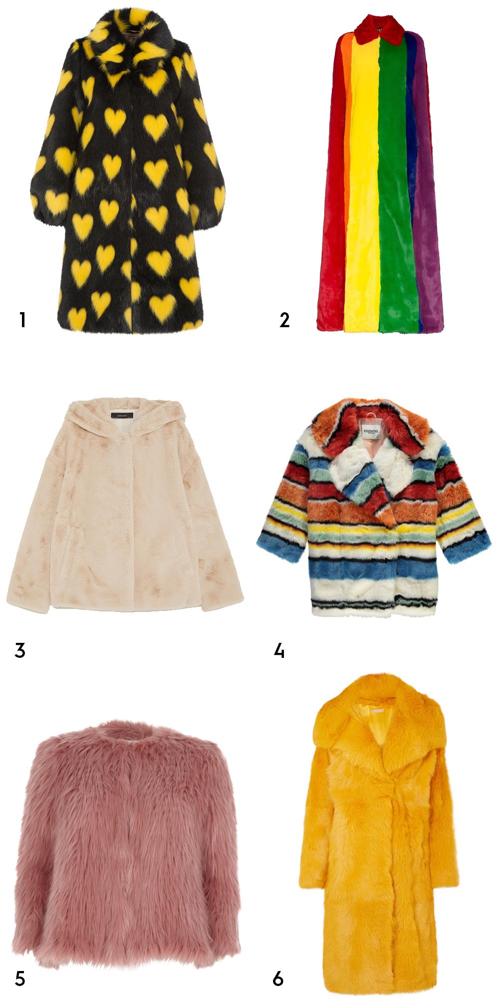 1Lorca black coat, €727.73 at shrimps.co.uk, 2 rainbow stripe faux fur cape coat by Burberry, €4,790 at net-a-porter.com, 3 hooded jacket,€49.95 at zara.com, 4 colourful stripe faux fur coat, €395 at essentiel-antwerp.com, 5 petite pink faux fur knit coat, €60 at riverisland.ie, 6 shearling coat by Michael Kors, €8,625 at net-a-porter.com