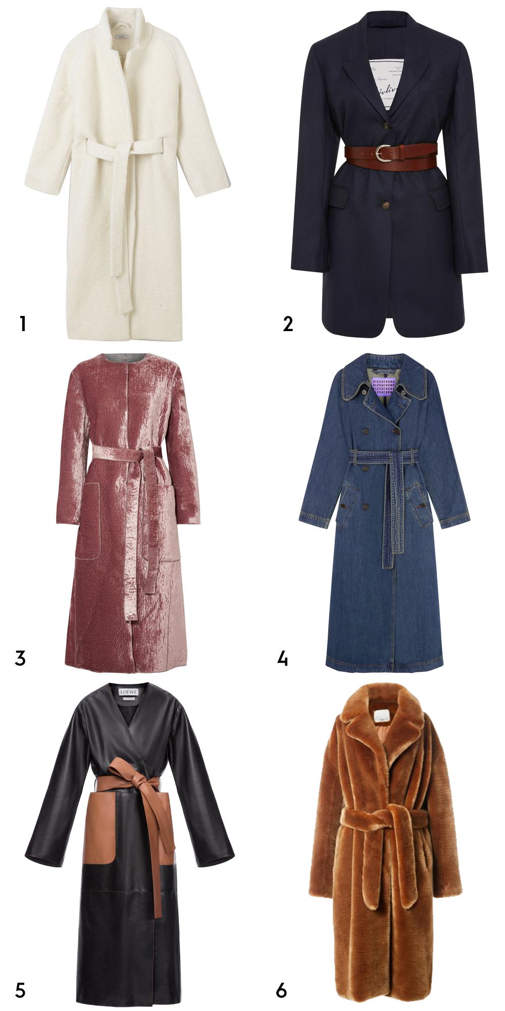 1 Fenn wrap long coat, €329 at ganni.com, 2Karen Belted wool-crepe blazer byGiuliva Heritage Collection, €1,536 at modaoperandi.com, 3 deco rose/light grey velvet and wool coat, €2,200 at bottegavaneta.com, 4 denim trench coat, €700 at alexachung.com, 5 long coat in black and tan, €3,800 at loewe.com, 6 luxe oversized faux fur coat, €594.84 at tibi.com