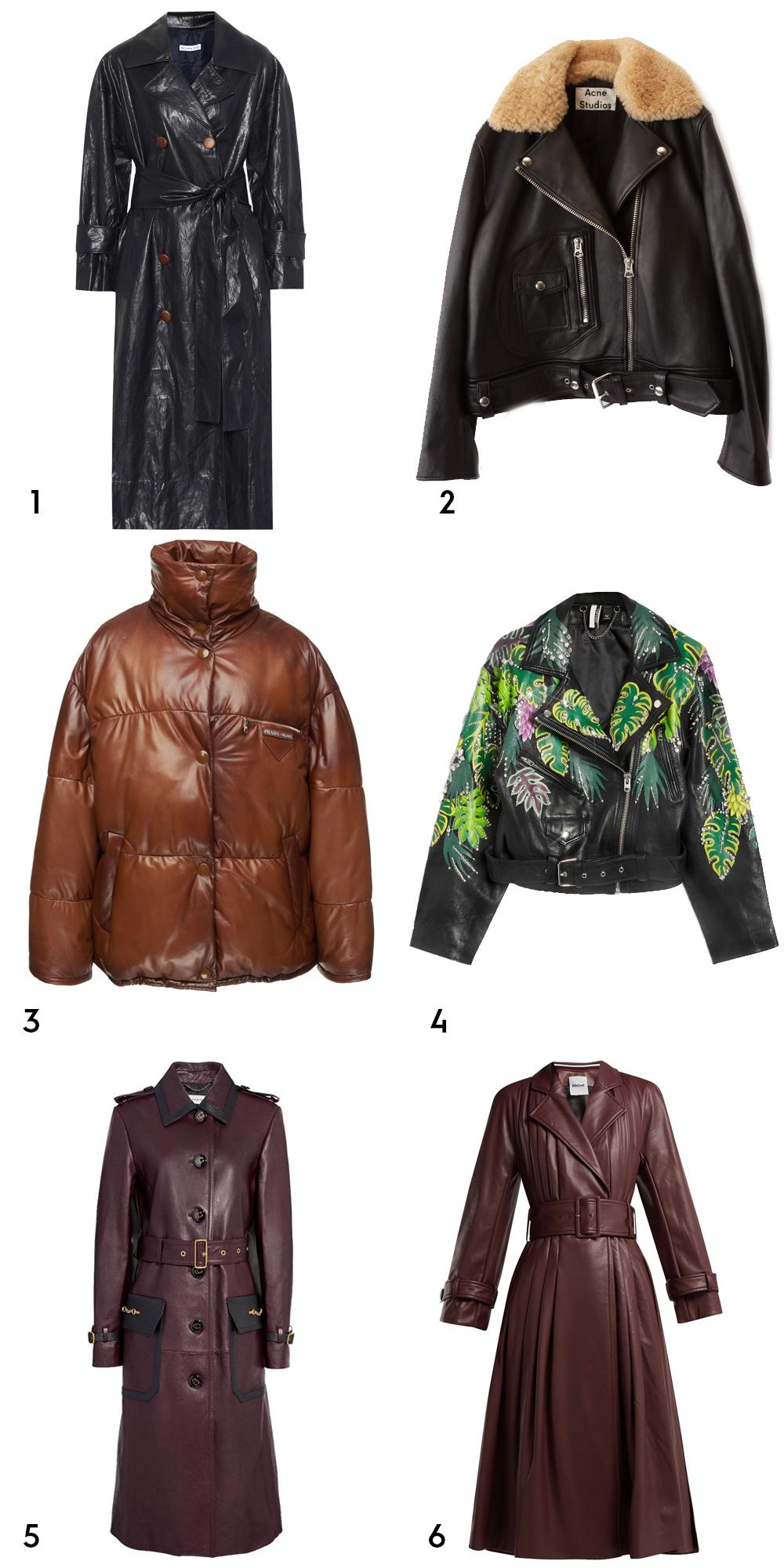 1 Oli faux leather trench coat by Regina Pyo, €807.84 at mytheresa.com, 2 boxy biker jacket black, €2223.35 at acnestudios.com, 3leather puffer coat by Prada, €3,291 at modaoperandi.com, 4jungle embellished jacket, €390 at topshop.com, 5Western leather trench coat, €1,503.95 atcoach.com,6 belted faux-leather trench coat by Koché, €1,632 at matchesfashion.com