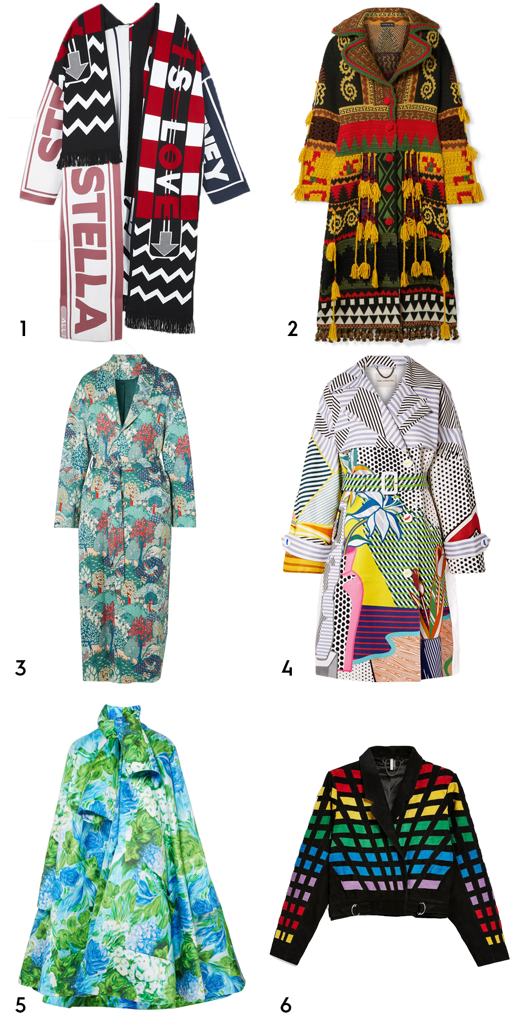 1 All Is Love patchwork coat, €1,795 at stellamccartney.com, 2 tasselled intarsia wool-blend coat by Etro, €4,480 at net-a-porter.com, 3 Margo quilted jacquard coat by Vilshenko, €959 at lyst.com, 4 printed cotton-blend gabardine trench coat by Mary Katrantzou, €1,995 at modesens.com, 5 oversized floral-print Duchesse-satin coat by Richard Malone, €2,990 at net-a-porter.com, 6 suede lattice jacket, €390 at topshop.com