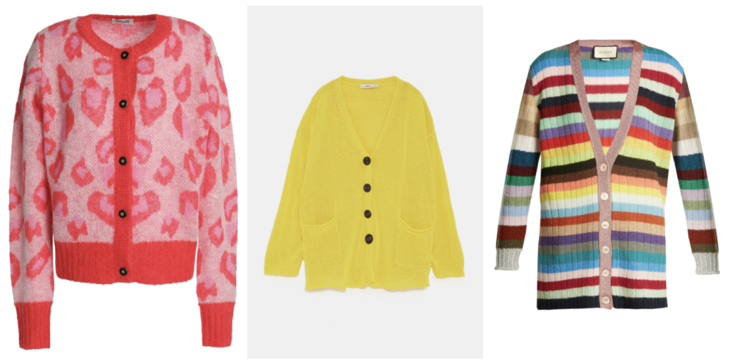 Leopard jacquard-knit cardigan by Baum Und Pferdgarten, €102 at theoutnet.com, oversized yellow cardigan, €39.95 at zara.com, striped cashmere and wool-blend cardigan, €1,100 at matchesfashion.com
