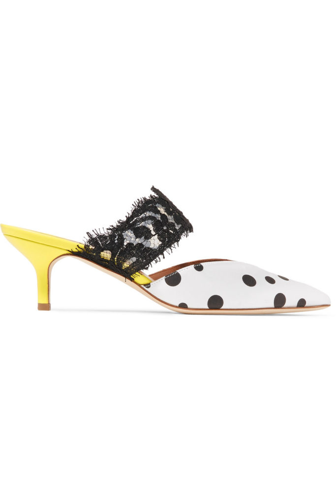 Maisie lace-trimmed polka-dot faille mules, €535 at net-a-porter.com