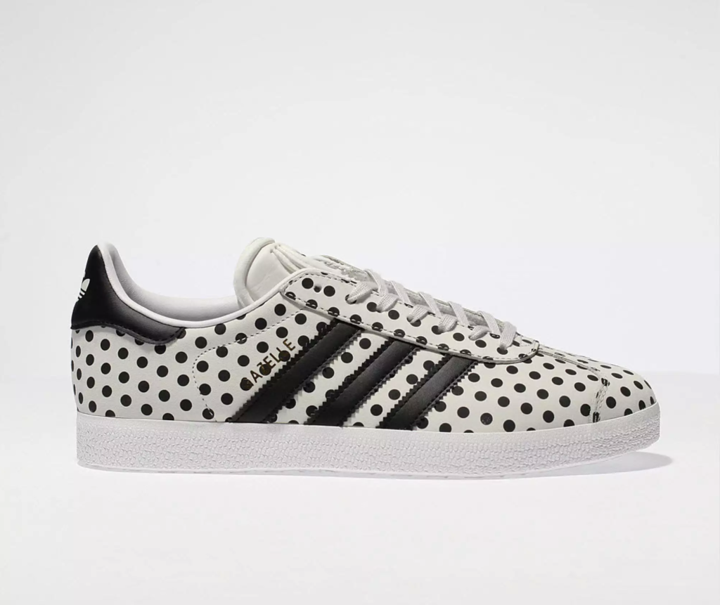 Light grey and black gazelle leather polka dots trainers by Adidas, €50.95 at schuh.ie