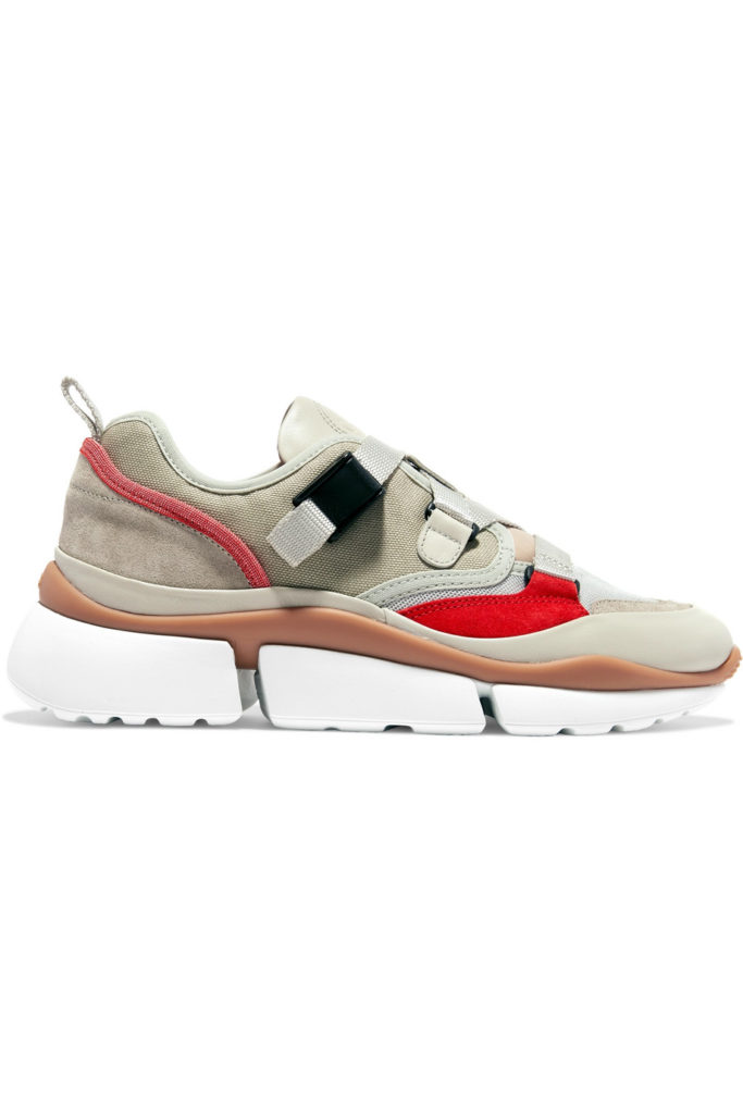 Sonnie canvas, mesh, suede and leather sneakers by Chloé, €495 at net-a-porter.com