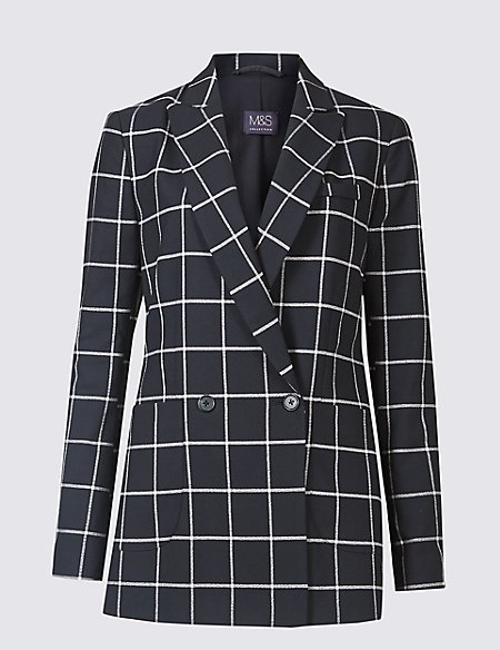 Checked double-breasted blazer, €82 at marksandspencer.ie