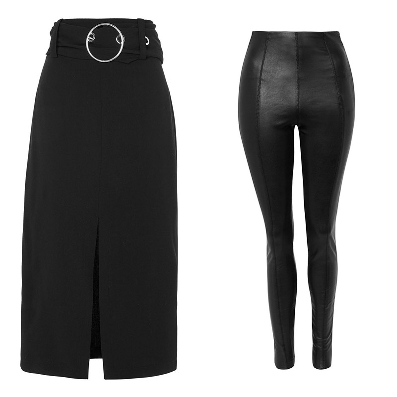 Ring buckle midi skirt, €60,stretch leggings, €46, both at topshop.com