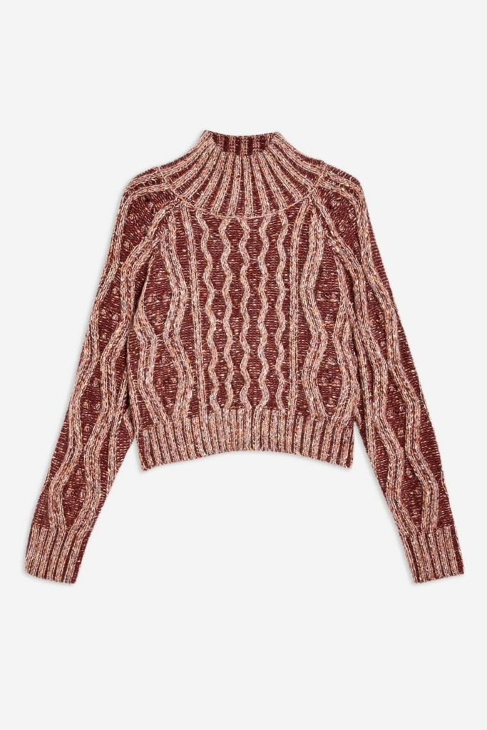 Pleated tweed cable jumper, €57 at topshop.com