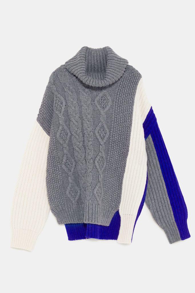 Colour-block cable knit jumper, €49.95 at zara.com