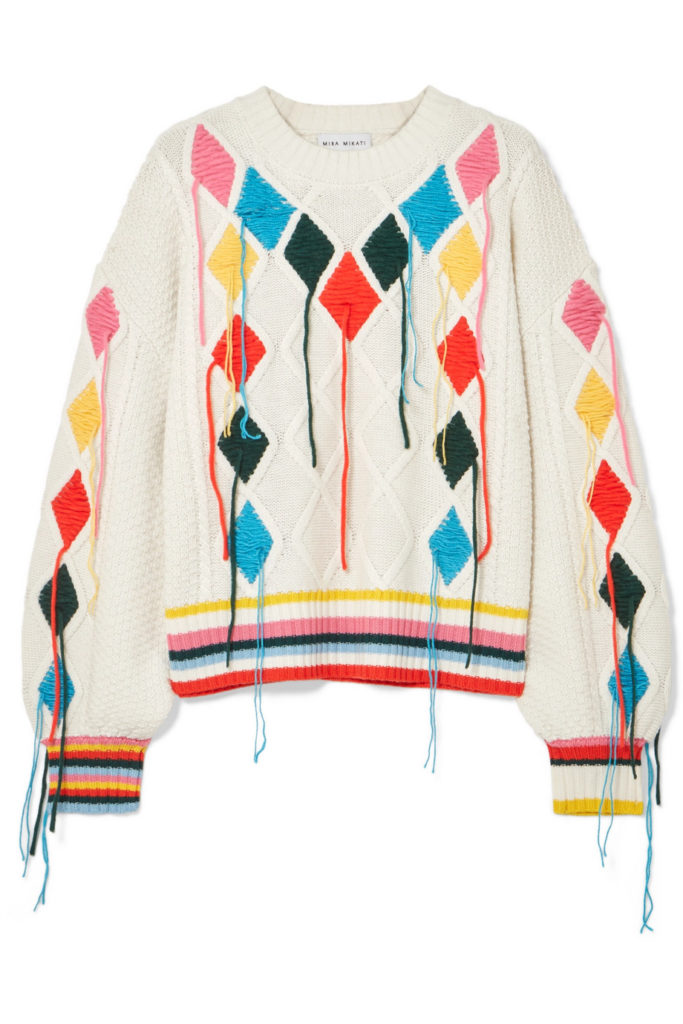 Embroidered cable-knit sweater by Mira Mikati, €530 at net-a-porter.com