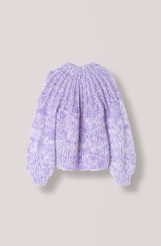 The Julliard Mohair open back pullover, €389 at ganni.com